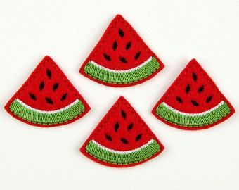 WATERMELON WEDGE - Embroidered Felt Embellishments / Appliques - Red  (Qnty of 4) SCF7072