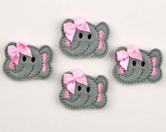 ELEPHANT - Embroidered Felt Embellishments / Appliques - Gray & Pink  (Qnty of 4) SCF6075
