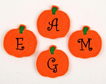 PUMPKIN MONOGRAM / Curlz - Embroidered Felt Embellishments / Appliques - Orange  (Qnty of 4) SCF5090