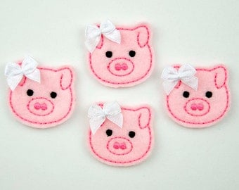 PIG - Embroidered Felt Embellishments / Appliques - Pink  (Qnty of 4) SCF6205