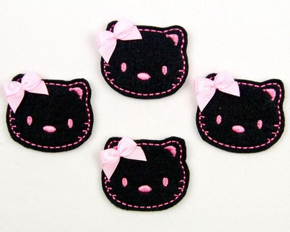CAT - Embroidered Felt Embellishments / Appliques - Black & Pink  (Qnty of 4) SCF6055
