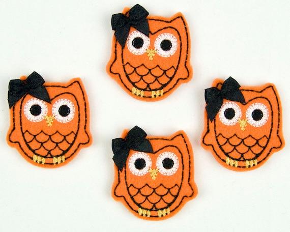 OWL - Embroidered Felt Embellishments / Appliques - Orange & Black  (Qnty of 4) SCF6580