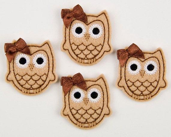 OWL - Embroidered Felt Embellishments / Appliques - Tan & Chocolate  (Qnty of 4) SCF6640