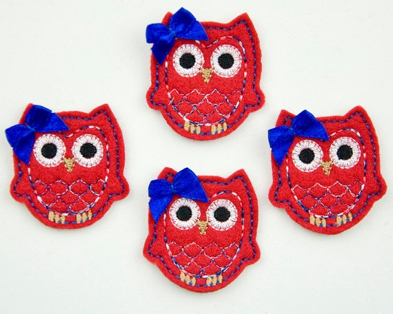 OWL - Embroidered Felt Embellishments / Appliques - Red, Blue & White Variegated  (Qnty of 4) SCF6620
