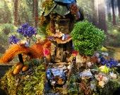 Fairy House, Miniature Art, Woodland Fairies, Brown, Fantasy, Rustic, Forest Green