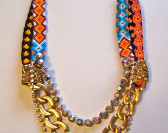"Vintage Rhinestone Statement Friendship Bracelet Necklace- ""Golden Girl"""