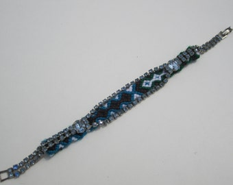 "Vintage Rhinestone Friendship Bracelet- ""Bye Bye To The Blues"""
