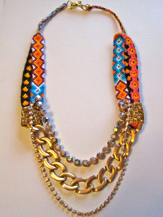"""Vintage Rhinestone Statement Friendship Bracelet Necklace- """"Golden Girl"""""""
