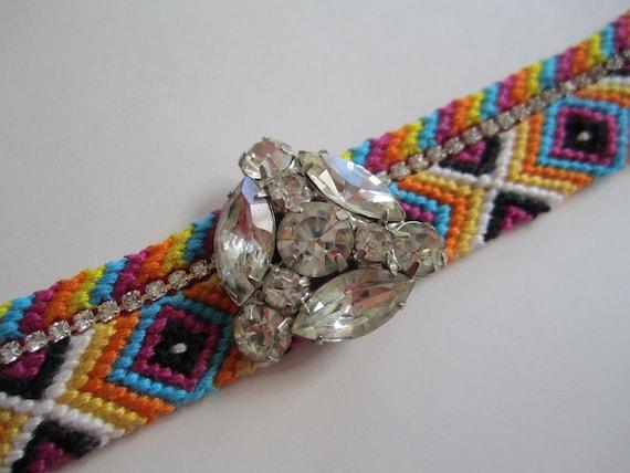 "Vintage Rhinestone Friendship Bracelet- ""Capri Canopy"""