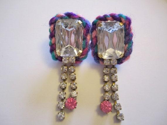 """RESERVED Friendship Bracelet Rhinestone Earrings- """"Sweet Twist"""""""