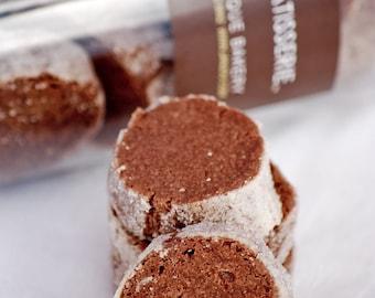 Chocolate Sparkles Sablés (cookies), cinnamon, shortbread