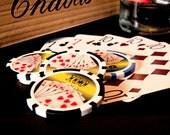 Matted Retro Poker Photograph, Gambling, Poker Chips Playing Cards, Matted 5x7 print, Man Gift