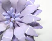 Vintage Enamel Brooch Flower 1960s Lavender Mum Pin