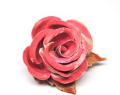 Rose Brooch 1920s Celluloid Jewelry Pink and Brown