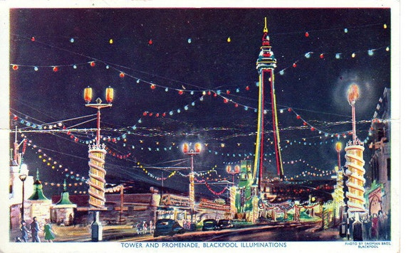 Postcard Vintage England Blackpool Tower Night Scene