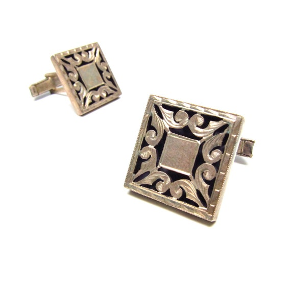 Western Mens Square Cufflinks Sterling Silver Plafina Mexico