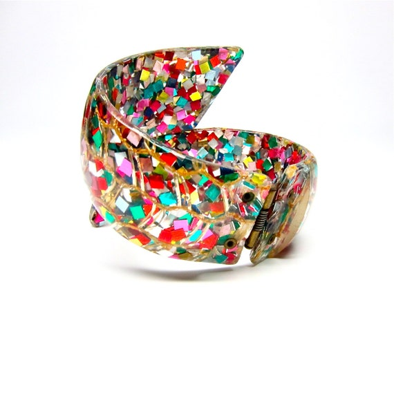Lucite Confetti Bracelet Clamper Colorful Bangle Cuff 50s