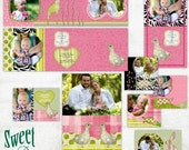 Pink Zoo Nursery Birthday or Baby Announcement  - Templates for Photographers