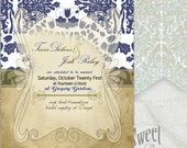 Blue Damask Vintage Wedding Invitation - Customizable - jpeg for individuals