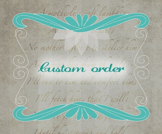 Customized order for digital baby shower card and matching card insert