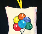 Birthday Balloons Counted Cross-Stitch Ornament