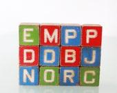 Vintage - 12 Children's Alphabet Letter Blocks