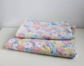 Vintage - Wamsutta Floral Standard Double Flat Sheets Bedding Set 2 Pillow Cases pink, blue, yellow