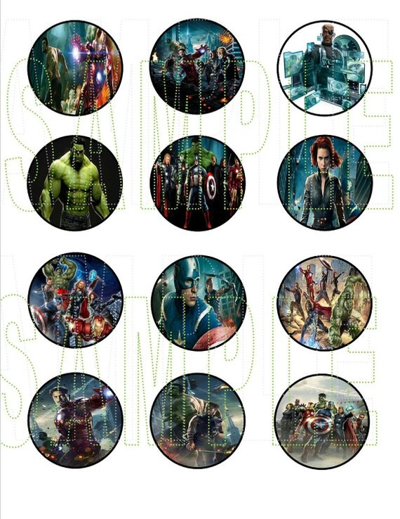 The Avengers Party DIY Cupcake  Toppers
