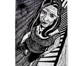 Lino Relief Print Linocut Black and White Fine Art Woman with Phone