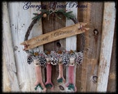 Christmas Holiday Decorations Primitive Christmas Wreath Or Door Greeter