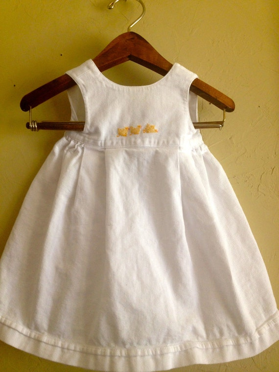 Vintage Duck Embroidered Apron Style Dress 12m