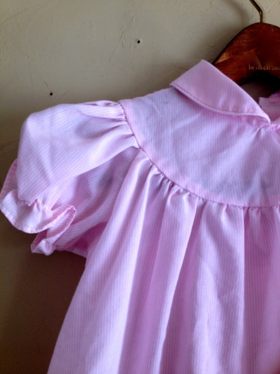 Vintage Pink Striped Party Dress 12m