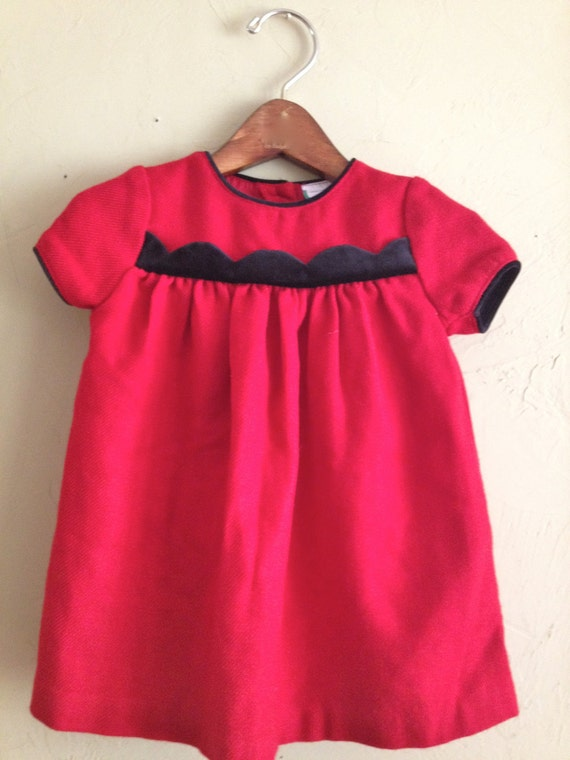Vintage Red Wool Dress with Scallop Design 18m