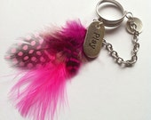 Silver Play Charm Ring with Pink Feathers - ivolvebeauty