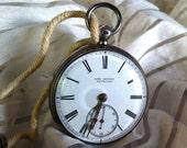 Antique c. 1870 John Bryson Fusee Pocket Watch - Winds & Runs - w/ Key - Made in Edinburgh - Silver Case - Nearly 150 Years Old
