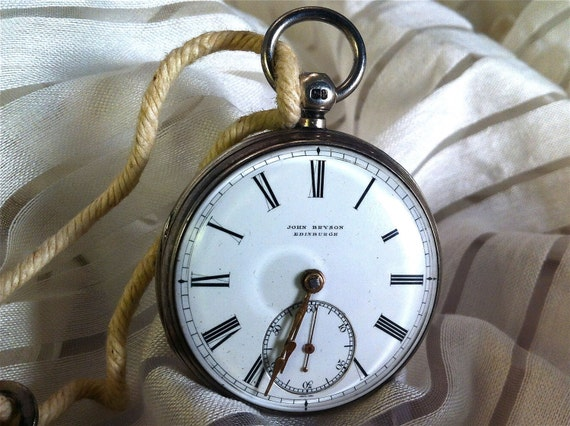 Antique c. 1870 John Bryson Fusee Pocket Watch - Winds & Runs - w/ Key - Made in Edinburgh - Silver Case - Nearly 150 Years Old