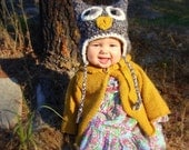Baby owl hat with earflaps, baby hat, animal hat - This crochet hat is neutral and can be used for a boy or girl.