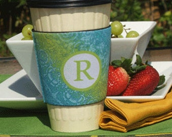 "Personalized Coffee Cup Sleeve in ""Lina"""