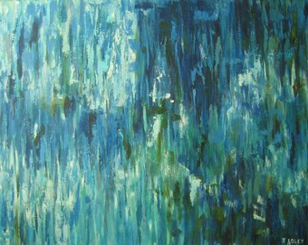 XL BLUE ABSTRACT Original oil painting 30x40 on sale