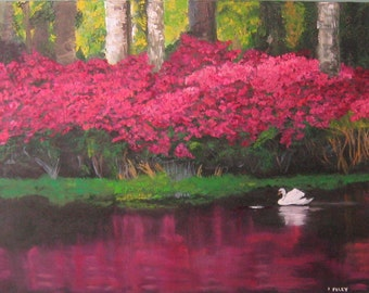 Original oil painting Giclee Swan Reflection