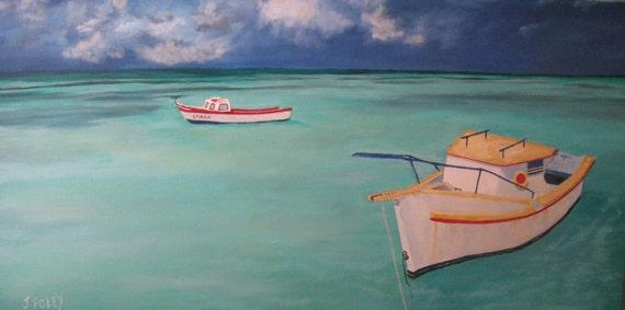 XL Original Oil Painting caribbean boats