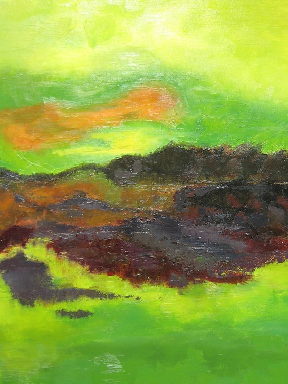 Original Abstract Painting xl lime green landscape