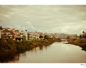 Venice Photo - Vintage California Photo - Homes on the Canals - Clouds - Wall Decor - Fine Art Print - Picturesque