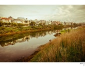 Black Friday Sale - Venice Canals Vintage Photo - California, Fine Art, Houses, Olive Green, Clouds, Los Angeles Photo, Howdy Neighbor