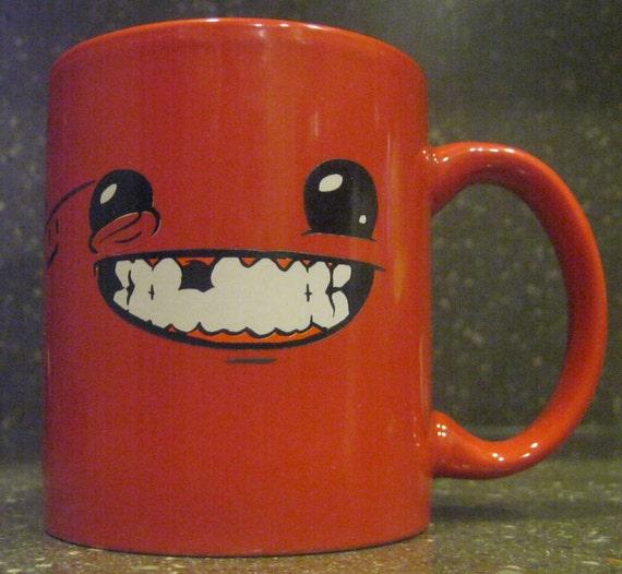Signed Super Meat Boy (Meaty Mug) coffee mug Signed by Team Meat