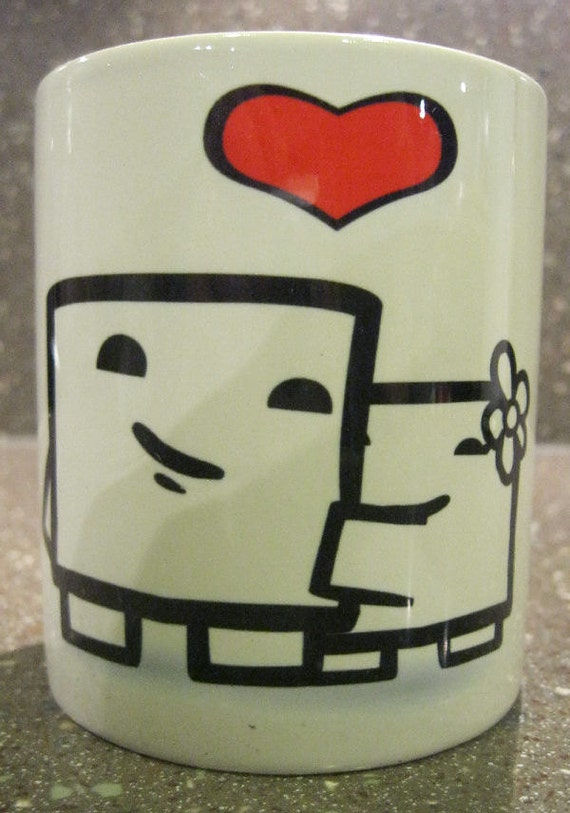 Signed Super Meat Boy (LOVE Mug) coffee mug Signed by Team Meat