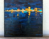 12x12 Impressionist Oil on Canvas, Night Harbor featuring deep blues, reds, black, turquoise and orange.