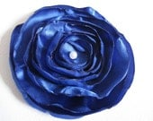 Handmade Royal Blue Flower Hair Clip or Brooch