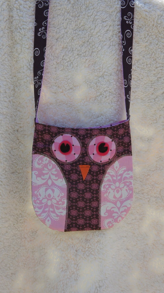 Owl Purse/Bag with Brown and Pink Fabrics