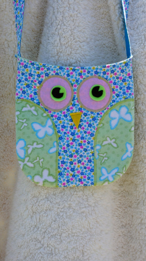 Owl Purse/Bag with Colorful Small Flower Fabric and Butterfly Fabric